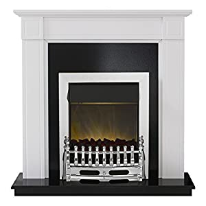 Adam Georgian Fireplace Suite in White with Blenheim Led Electric Fire, 2000 Watt