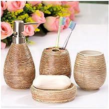 Asien Badezimmer Zubehör-Set, 4-teilig, aus Keramik, Seifenspender, Zahnputzbecher, Seifenschale, Becher, keramik, elfenbeinfarben, middle