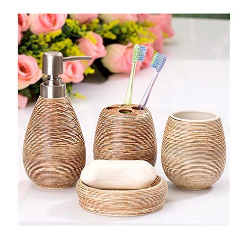 Asien moderno 4piezas Juego de accesorios de baño dispensador de jabón de cerámica vaso para cepillo de dientes soporte jabonera, cerámica, crema, Milieu