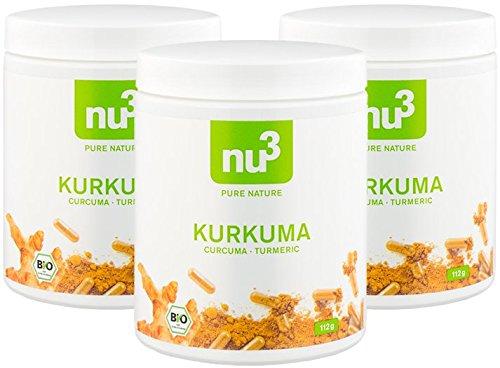 nu3 Premium Bio Kurkuma (Curcuma) | mit Piperin hoch-dosiert in veganen Kapseln | 600 Stück | enthält natürliches Curcumin Piperin aus schwarzem Pfeffer-Extrakt | Laborgeprüft aus Deutschland