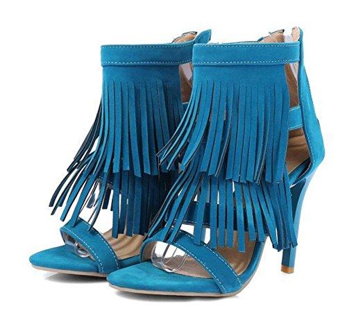 SHINIK Aux femmes Ankle Strap Pompes Gland Haut Haut des sandales Peep-orteil Chaussures Court Blue