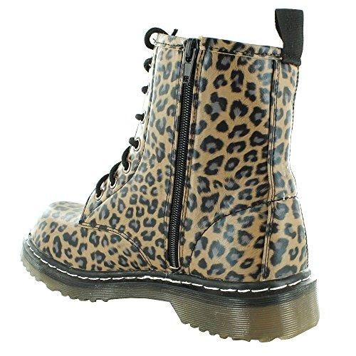 Kick Footwear Combat Boots, Stivali donna Leopard