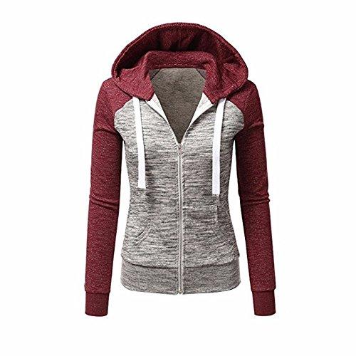 Newbestyle Jacke Damen Kapuzenpullover Strickjacke Pullover Sweatshirt Hoodies Kontrastfarbe Pulli Rot Large