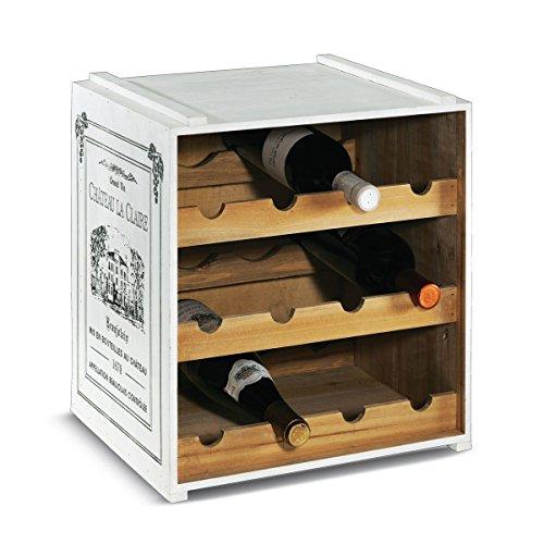 Weinregal Weinkiste Claire stapelbar Shabby Chic Holz ca. B36 x T32 x H39 cm - Weiß