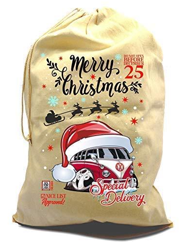 Sticker Licker XL Baumwolle Kordelzug Koolart Weihnachten Weihnachtsmann Sack Socken Geschenk Tasche mit Retro Wohnmobil Bild