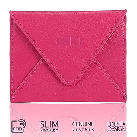 Le porte-cartes de crédit en cuir véritable OTTO et portefeuille de voyage enveloppe avec fermoir magnétique - détenteur de carte de crédit avec plusieurs emplacements (Rose)