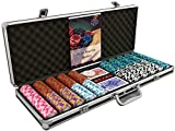 Bullets Playing Cards - Großer Pokerkoffer Deluxe Pokerset mit 500 Clay Pokerchips, Poker-Anleitung, Dealer Button und Bullets Plastik Pokerkarten