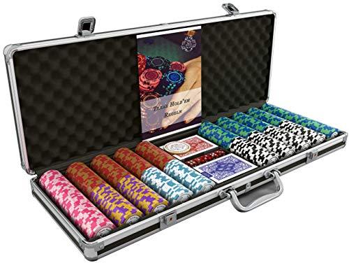 Bullets Playing Cards - Großer Pokerkoffer Deluxe Pokerset mit 500 Clay Pokerchips, Poker-Anleitung, Dealer Button und Bullets Plastik Pokerkarten -