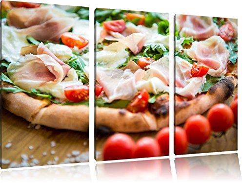 Leckere Pizza mit Parmaschinken 3-Teiler Leinwandbild 120x80 Bild auf Leinwand, XXL riesige Bilder fertig gerahmt mit Keilrahmen, Kunstdruck auf Wandbild mit Rahmen, gänstiger als Gemälde oder Ölbild, kein Poster oder Plakat