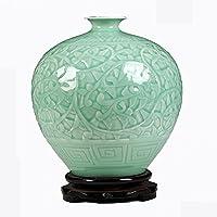 personalità Ceramica fatta a mano ombra verde Glaze Scultura soccorso melograno vaso della decorazione della casa Crafts Decoration tyj Crafts