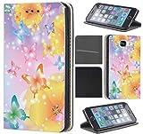 Samsung Galaxy Xcover 3 Hülle von CoverHeld Premium Flipcover Schutzhülle Xcover 3 aus Kunstleder Flip Case Motiv (1487 Schmetterlinge Bunt)