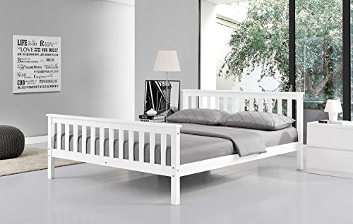 New Shaker Style Oxford White Solid Pine Wooden Bed Frame 3 Ft Single 4'6 Double 5 Ft King By Limitless Base (4'6 Double)