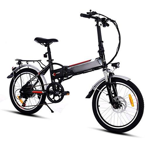 cooshional Bicicletta elettrica bici pieghevole Mountain Bike velocità di 250W / 7 proiettore luminoso LED e corno