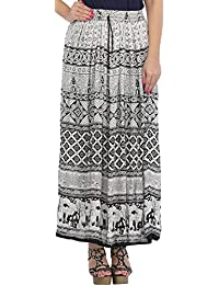 877ae0189001d Exotic India White and Black Long Skirt with Printed Elephants on Border