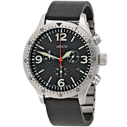Aristo 7H76Hombre Reloj de pulsera cuarzo cronógrafo acero inoxidable con Carbon Reloj de hombre