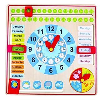 Tooky Toy TK15117 Holz Jahresuhr für Kinder, Lernuhr mit der Ihr Kind spielend leicht die Uhr, Wochentage, Monate, Jahreszeiten und das Wetter erlernen, 30 x 30 x 5 cm