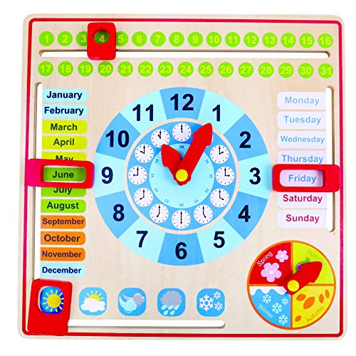 Tooky Toy Reloj Calendario de madera - Juguete educativo a...