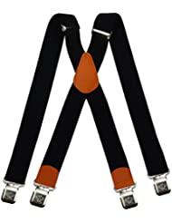Bretelles X entièrement réglable pour Homme Femme 4 cm avec 4 clips élastique Solide Casual Pantalon Jeans Différentes couleurs: Noir, Marron, Bleu
