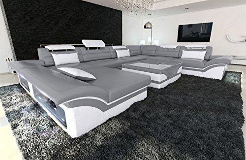Luxus Sofa Enzo XXL Designer Wohnlandschaft + LED grau - weiss