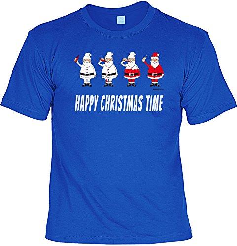 Spaß/Fun-Shirt mit witzigem Weihnachts- Aufdruck: Happy Christmas Time - lustiges Geschenk Royal-Blau