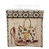 Moorui Faltbarer Sitzhocker Aufbewahrungsbox Kisten mit Deckel Aufbewahrungskisten Hocker Würfel High Heels 31*31*31 cm