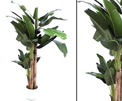 Bananenbaum, Kunstpalme mit 30 Blätter und 3 Stämmen, Höhe 280cm mit Topf – tropische Kunstbäume Dekobäume