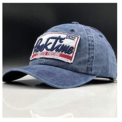 HUACHEN Baseballmütze Ausgestattet Hut Lässige Kappe Gorras Hip Hop Hysteresenhüte Wash Cap für Männer Frauen Unisex Outdoor-Hüte (Farbe : Blau, Größe : 56-60CM) - Ausgestattet Print Cap