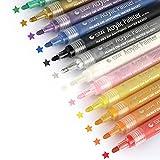 Thinkcase Marker Stifte, 12 Farben Acrylstifte Wasserfest Sta Acrylfarbe Permanent Marker Set DIY Art Filzstift für Glasmalerei, Rock-Malerei, Stoffmalerei,Garten, Leinwand, Papier, Metall, Fotoalbum