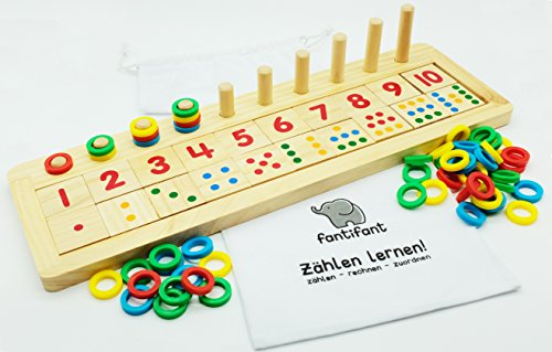 """""""Zählen lernen"""" Das große Zahlenlernspiel aus Holz für einen spielerischen Umgang mit Zahlen. Mit hübscher Baumwolltasche zur Aufbewahrung."""