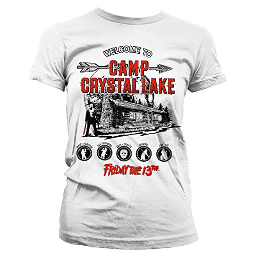 Officially Licensed Merchandise Friday The 13th - Camp Crystal Lake Girly Tee (White), Large