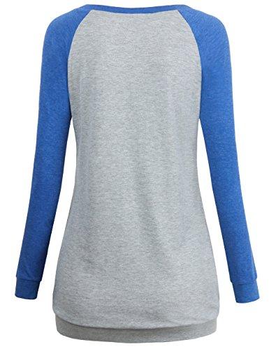 MOOSUNGEEK Top à Manches Longues - Femme Bleu