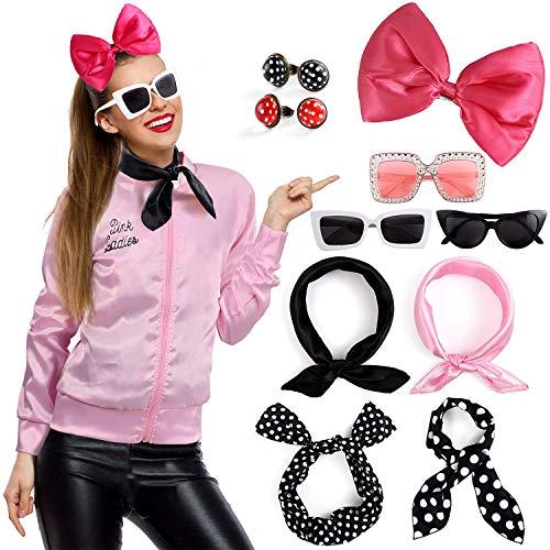 Tacobear 50er Jahre Rockabilly Accessories Grease Kostüm mit Rosa Jacke Schal Haarband Haarspange Ohrringe Brille Sonnenbrille Party Zubehör Karneval Halloween Kostüm für Damen Mädchen - Leicht 1950 Kostüm