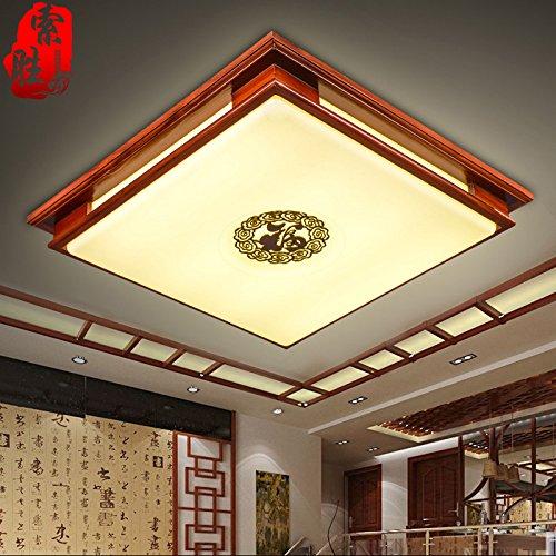 TYDXSD Lampada da soffitto stile cinese luce orientabile LED acrilico quadrato tinta legno salotto camera da letto studio lampada illuminazione 530mm