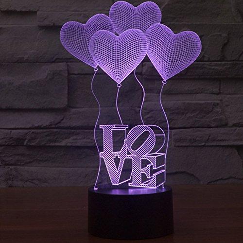 Lampe de nuit 3D, lampe de table de décoration, lampe d'ambiance, Touch Control Light colorée, changement de LED de 7 couleurs, lanterne de motif pour bureau / table, ampoule multicolore et USB Powered, décoration pour la maison, meilleur cadeau pour la Saint-Valentin, anniversaire ou autre cadeau de festival