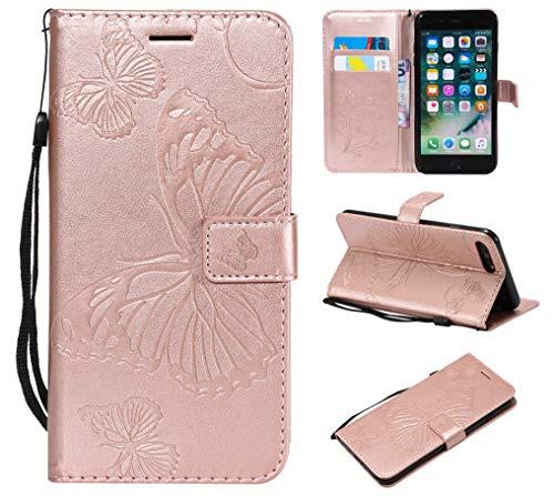 Cover iPhone 7 Plus/iPhone 8 Plus, GORASS PU Pelle Portafoglio Custodia Sbalzato Farfalla Modello Flip Cover Case con Porta Carte per Apple iPhone 7 ...