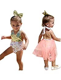 Sugou Toddler Baby Girl Sequin Halter Romper Jumpsuit Tulle Headband Vêtements Outfits