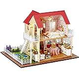 Atyhao Casa in Miniatura Casa Fatta a Mano Mini casa di Legno Casa di Bambola con mobili in Miniatura Giardino Personale Decorazione Domestica Giocattoli Fai da Te