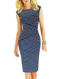 Bestfort Damen Ohne Arm Elegant Kleid Etuikleid O-Ausschnitt Business  Stretch Partykleid Reißverschluss… 1525fed7e1