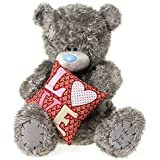 "Me to You, Tatty Teddy, Grey Teddy Bear Holding A 'Love' Cushion, Sits 20 ""Tall by Me to You"