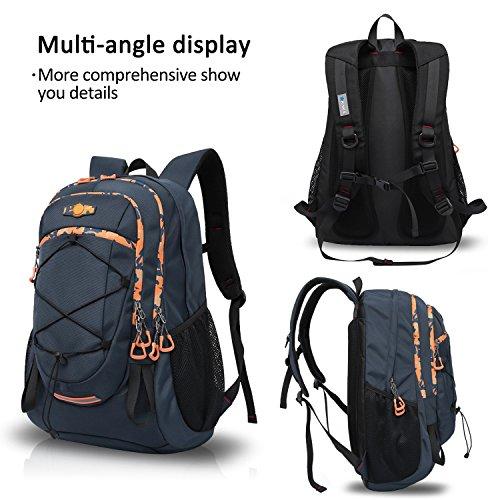 FANDARE Escursionismo Alpinismo Zaino All'aperto Schoolbag Campeggio Viaggio MacBook Notebook Portatile Laptop 15'' Pollici Borsa Alta Capacità Oxford Polyester 42L Nero Blu