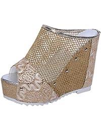 Sandalias mujer, Manadlian Sandalias de verano para mujer Chanclas Cuña hueca Zapatos de tacón alto (CN 38, Oro)