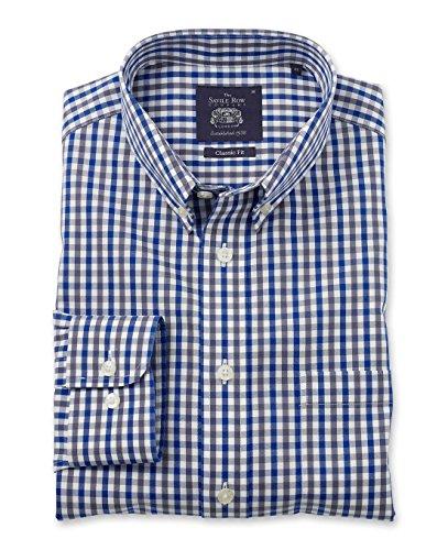 savile-row-mens-non-iron-navy-grey-white-check-smart-casual-classic-fit-single-cuff-shirt-xl-standar