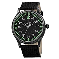 August Steiner Men's Casual Swiss Fashion Watch - Gunmetal Grey Case with Dark Dial with Green Hour Markers on Black Fabric and Genuine Nunbuck Leather Strap - AS8125