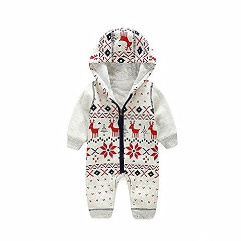 ZAMME Unisex Baby Spielanzug Weihnachtsstrickjacke-Mantel strickte Sweatshirt-Overall-Rotwild
