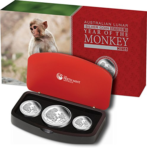 Power Coin Monkey Lunar Year Series Three 3 Münzen Set Silber Proof Australia 2016 -
