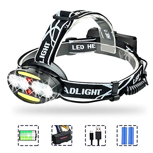 Karrong LED Stirnlampe USB Wiederaufladbar, Kopflampe mit Rotlicht 7 Modi, Kopfleuchte Wasserdicht Aufladbar Leicht Kopflampen Stirnlampen für Outdoor, Camping, Joggen, Gehen, Lesen, Laufen, Arbeit