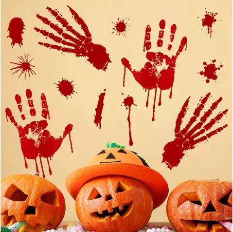 V-RULE Halloween Dekoration Set- Zombie Scars Temporäre Tattoos (11 Blatt) - Halloween Blut Drucke Fenstersticker - Halloween Spinnweben - Halloween Ballone Party - 2