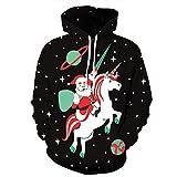 Leapparel Unisex 3D Claus auf Einhorn Graphic Printing Weihnachts Hoodie Hässliches Weihnachten Kapuzenpulli Kostüm für Frauen und Damen Schwarzes
