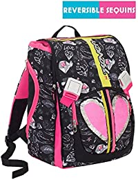 5fa79e1a6f Zaino scuola SEVEN - HEART GIRL - Nero Rosa - estensibile - 28 LT -  elementari e medie - patch paillettes reversibili…