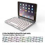 BECROWM EU iPad Mini 4Tastatur Case, Ultra Slim Hard Shell Folio Ständer Smart Cover mit 7Farben Hintergrundbeleuchtung Kabellose Bluetooth Tastatur für Apple iPad iPad Mini4Kunststoff 20,1cm